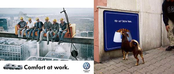 Реклама комфорта VW и реалистичная реклама собачьего корма